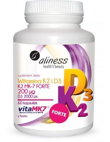 Aliness Witamina K2 MK-7 100 µg z Natto + D3 – 60 kapsułek