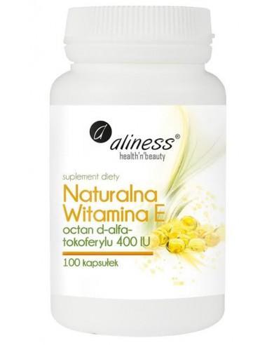 aliness Naturalna witamina E octan d-alfa-tokoferylu 400 IU 100 kapsułek