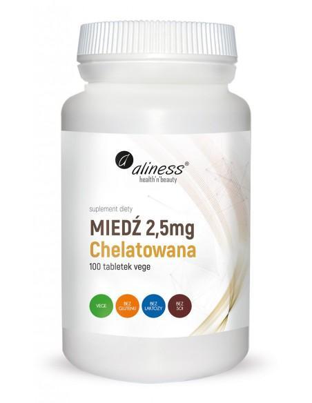 Miedź Chelatowana 2,5 mg 100 tabl. vege alines